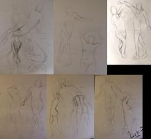 Life drawing gesture sketches, week 5-7 by 7AirGoddess3