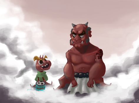 Oni and Papa by chocohaulic
