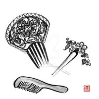 Chinese combs and hairpin - sumi-e by SayuriMVRomei