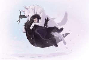 Jon Snow and Ghost for Sketch Dailies by manee-sketch