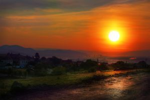 Sunrise over Waves of Land HDR by borda
