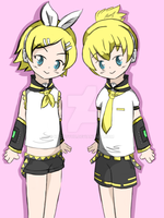 Rin and Len by KazuoYuu