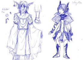 May and Allistor chara designs by straywillowisp