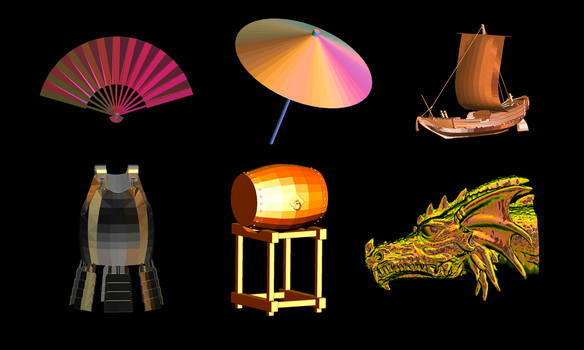 Incendia Japanese Themed STL Mesh Baseshapes by Tate27kh