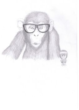 Chimpanzee with glasses by Nheckscar