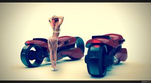 Motorbike Honda concept 2029 - red by abmart