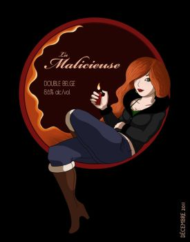 Beer Label - La Malicieuse by MiniMonsterMill