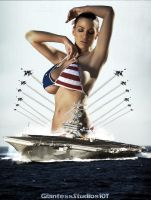Giantess Jordan Carver's Patriot Colors by GiantessStudios101