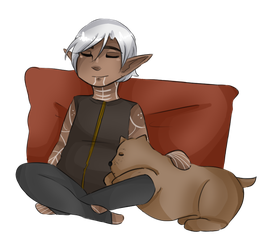 Fenris and Dog by AngelicsCanvas