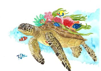 Watercolor turtle by Eif-ka