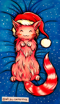 Snug Candy Cane Cat by Xenonia