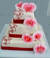 Wedding cake with orchids by 6eki