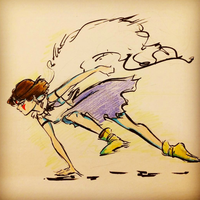 Princess Mononoke in pen and ink by gabrielleandhita