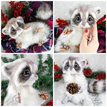Baby Frost Raccoon ~ Poseable Fantasy Creature by RikerCreatures
