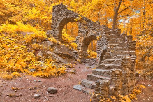 Gold Forest Castle Ruins by somadjinn