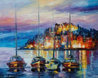 Evening Harbor by Leonid Afremov by Leonidafremov