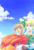 SS Link and Zelda by Kittermew
