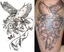 Owl And Dreamcatcher Tattoo Commission by NightsQueen