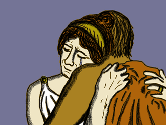 Hera crying in Hephaestus arms. by Foolna