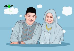 happy pre-wedding vector  by kalongart