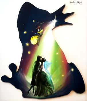 The Princess and the Frog silhouette by WormholePaintings