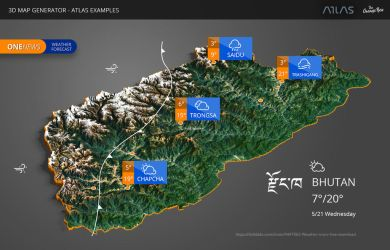 Weather Map of Bhutan - 3D Map Generator - Atlas by templay-team