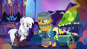 Nightmare Night Derpy and AJ by PixelKitties