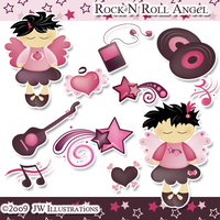 Rock N Roll Angel Clipart by jdDoodles