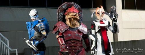 Wrex, Garrus, and Mordin by proppedupcreations