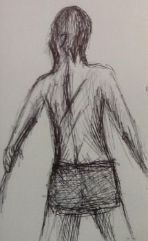 Pen sketch of a guy's back by Drawingsomecrap