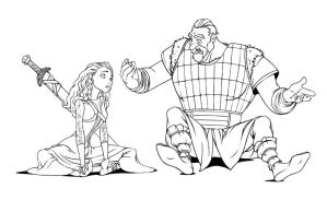 The Valkyrie.Rannveig and the viking man by steamey