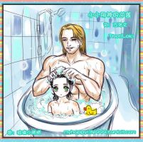 Thor and little Loki in bath by happylife999