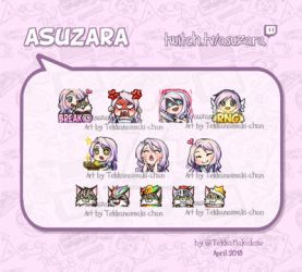Commission: Twitch Emotes and badges for Asuzara by TekkanoMaki-chan