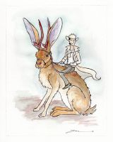 Rex Marksley rides a giant jackalope by Jessewhitmoreart