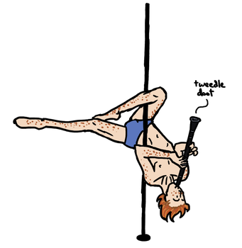 Raige Poledancing with a Clarinet by LB-Lee