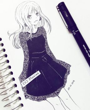 Inktober: Lace Dress by Pluvias