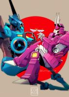 Commission: Whirl and Cyclonus by c0ralus