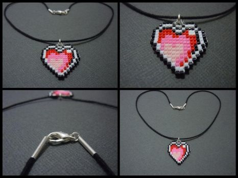 Hand Woven Seed Bead Heart Necklace by Pixelosis