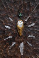 Barn Owl with Rhinestone Necklace by Lavenderwitch