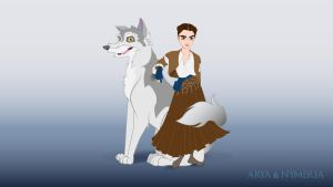 Arya and Nymeria by Silvaticus