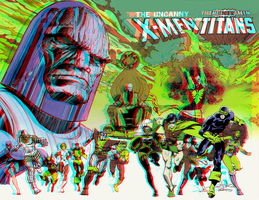 X-Men and Teen Titans in 3D Anaglyph by xmancyclops