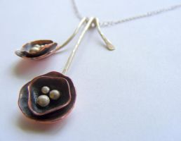 Dark Copper Flower Necklace by MoonLitCreations