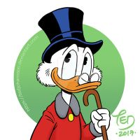 Uncle Scrooge with cane by TedJohansson
