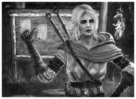 White Haired Witcheress - Pencil Drawing by Jooleya