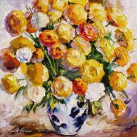 Gold Bouquet by Leonid Afremov by Leonidafremov