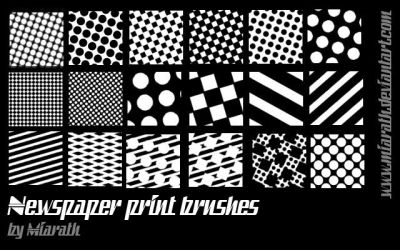 Newspaper print brushes for Gimp by Miarath