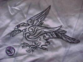 Raven embroidery by fairyfrog