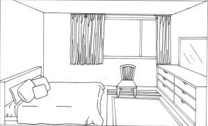 Line art: anime bedroom by willow-yanagi