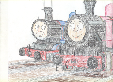 Two Engines Talking Things Out by TrainsAndCartoons