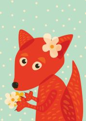 Cute Fox With Flowers by azzza